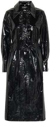ALEXACHUNG Belted vinyl shirt dress