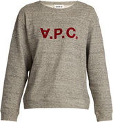 A.P.C. Flocked-logo cotton-blend sweatshirt