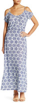 Loveappella Cold Shoulder Printed Maxi Dress (Petite)