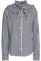 Love Moschino Pussy-Bow Ruffle-Trimmed Striped Cotton-Poplin Shirt