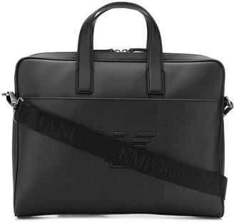 Emporio Armani Logo Embossed Laptop Bag