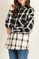 Entro Frayed Plaid Top