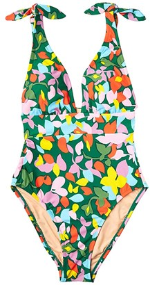 J.Crew Tie-Shoulder One-Piece In Confetti Floral (Green/Pink Multi) Women's Swimsuits One Piece