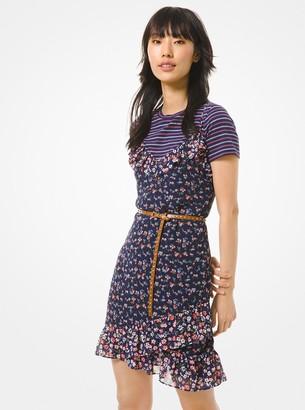 MICHAEL Michael Kors Floral Georgette Ruffled Slip Dress