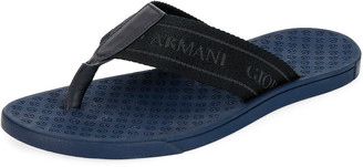 Giorgio Armani Men's Nylon-Web Thong Sandals, Blue