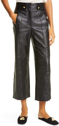 Veronica Beard Agee Crop Leather Pants