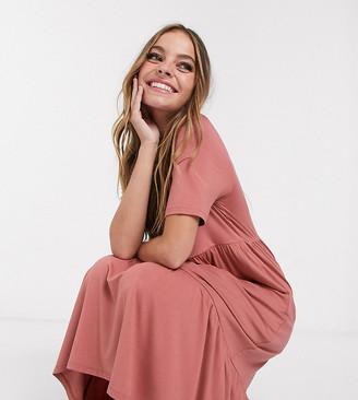 Asos DESIGN Petite tiered smock t-shirt midi dress in rose