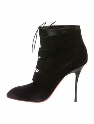 Santoni Suede Lace-Up Boots Black