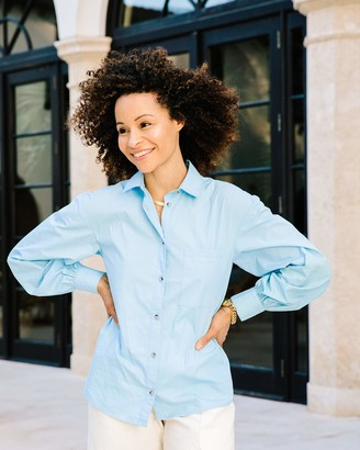 The Drop Women's Airy Blue Button-Down Voluminous Sleeve Shirt by @scoutthecity S