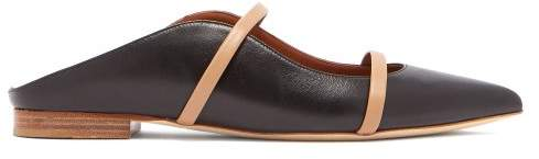 Malone Souliers Maureen Backless Leather Flats - Womens - Black Nude