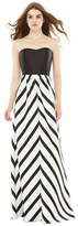 Alfred Sung Women's Strapless Stripe Sateen A-Line Gown