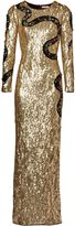 Matthew Williamson Gold Snake Liquid Sequin Gown