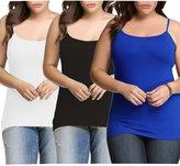 Dinamit Jeans Womens Plus Size Seamless Cami Tank Top White Black Royal