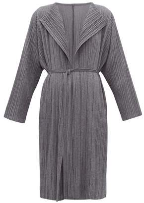 Pleats Please Issey Miyake Plisse Belted Coat - Womens - Grey