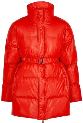 Rains Red Quilted Shell Coat