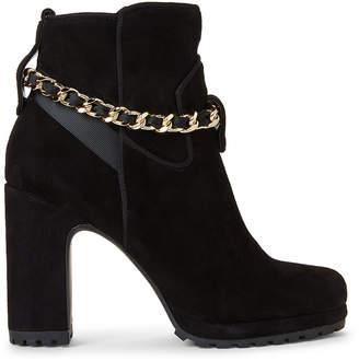 Karl Lagerfeld Paris Black Lark Chain Suede Ankle Booties