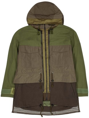 White Mountaineering Army green panelled cotton-blend jacket