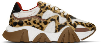 Versace White and Brown Maculato Squalo Sneakers