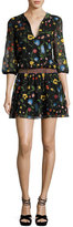 Alice + Olivia Jolene Split-Neck Smocked-Waist Mini Dress, Multicolor