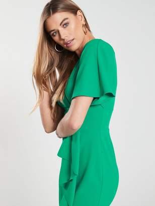 Very Kimono Sleeve Ruffle Front Pencil Dress - Green