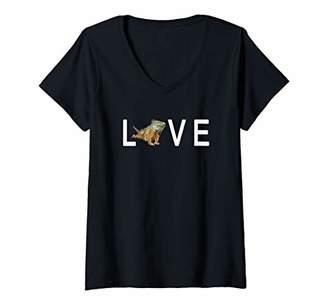 Dragon Optical Womens Bearded Love Art For Women Mothers Day Lizard V-Neck T-Shirt