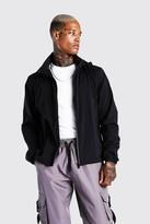 boohoo Mens Black Zip Through Hooded Cagoule, Black