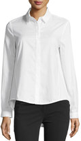 Neiman Marcus Long-Sleeve High-Low Button Cotton Blouse, White