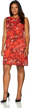 Taylor Dresses Women's Plus Size Cascading Floral Shift Dress