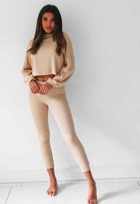 Missguided Rib Balloon Sleeve Top and Joggers Loungewear Set