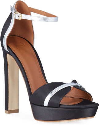 Malone Souliers Platform Satin Ankle Sandals
