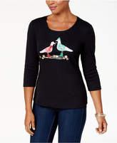 Karen Scott Petite Cotton Embellished Gulls Top, Created for Macy's