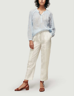 Whistles Relaxed tapered-fit mid-rise linen trousers