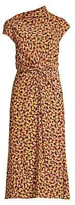 Saloni Women's Demi Printed Silk Midi Dress - Size 0