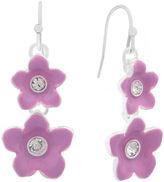 Liz Claiborne Flower Drop Earring Purple Silvertone