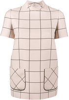 Valentino grid print top - women - Silk/Virgin Wool - 38