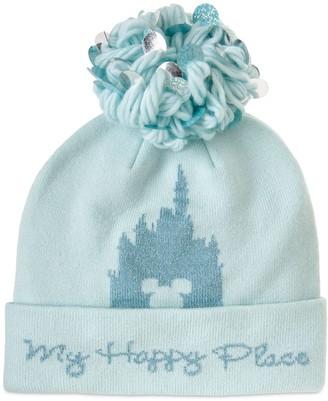 Disney Parks ''My Happy Place'' Knit Pom Pom Hat for Adults
