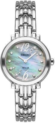 Seiko Women Solar Tressia Diamond Accent Stainless Steel Bracelet Watch 23mm SUP353