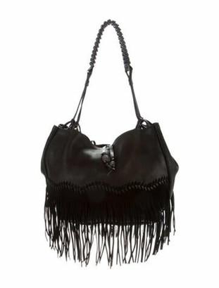 Ermanno Scervino Fringe-Trim Shoulder Bag Black