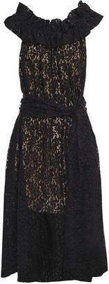 Stella McCartney Gathered Ruffled Cotton-blend Lace Midi Dress