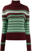 System patterned knit roll neck jumper