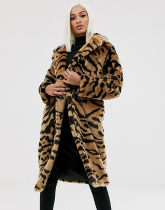 Asos DESIGN tiger faux fur longline coat