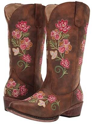 Roper Riley Floral (Vintage Cognac Faux Leather) Cowboy Boots