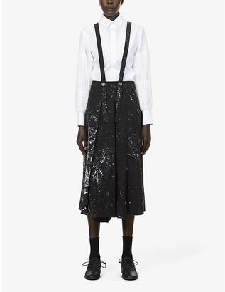 Song For The Mute Paint splatter-pattern high-waist cotton and-linen-blend skirt