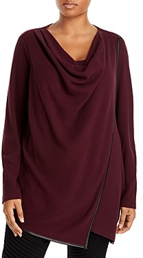 Marc New York Plus Marc New York Performance Plus Draped Waffle Knit Thermal Top