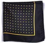 HUCKLE & HARPER - Pocket Square Silk Blue Yellow Dots