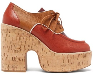 Miu Miu Grained-leather And Cork Platform Brogues - Womens - Red