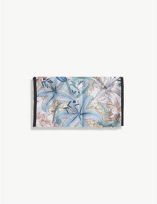 Emily Carter Ladies Blue and White Lily Floral-Print Silk Face Covering Mask