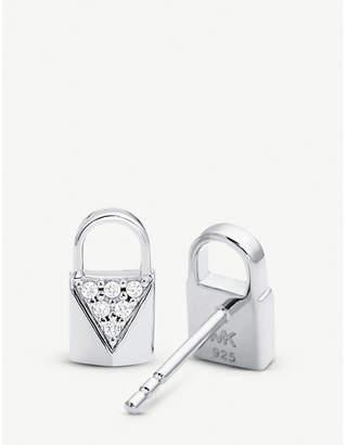 Michael Kors Mercer Link silver pave-embellished padlock earrings