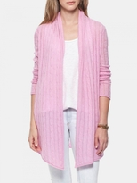 White + Warren Cashmere Pointelle Cable Cardigan