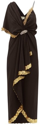 Gucci Naomi Crystal-embellished Moire Dress - Womens - Black